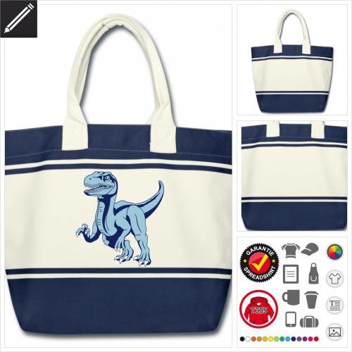 Dinosaurier Raptor Schulltertasche selbst gestalten. Online Druckerei
