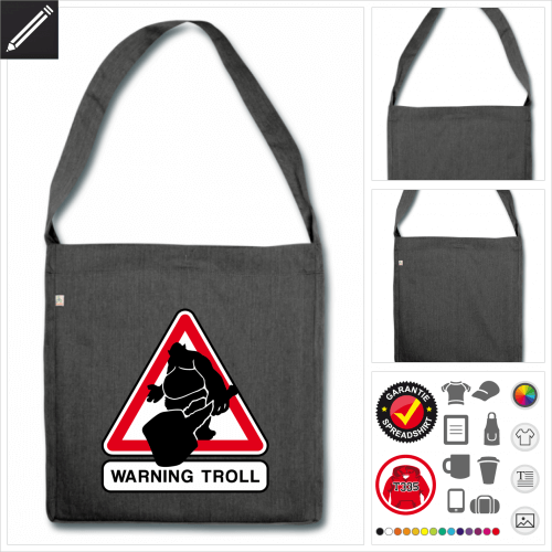 Troll Tasche selbst gestalten. Online Druckerei