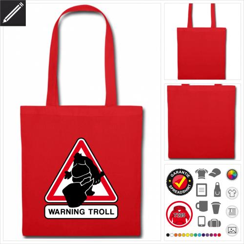Troll Verkehrsschild Stofftasche mit Griffen online Druckerei, höhe Qualität