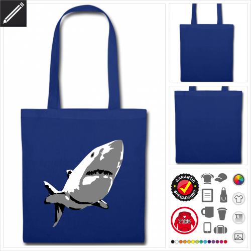 Menschenhai Tasche mit Griffen online Druckerei, höhe Qualität