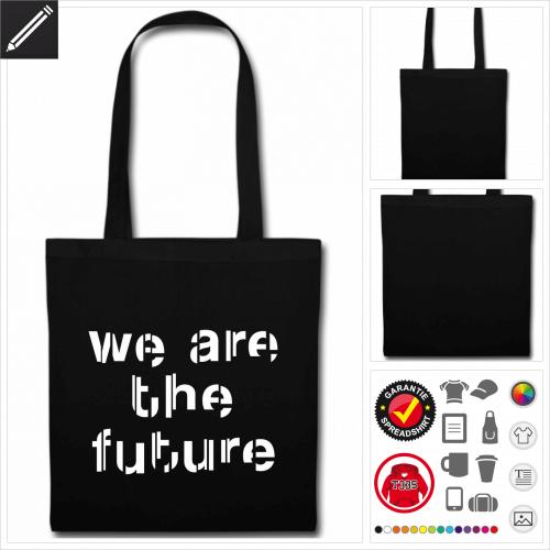 Zukunft Tasche mit Griffen selbst gestalten. Online Druckerei