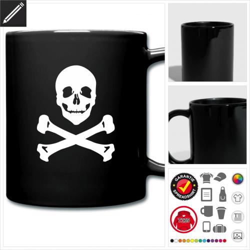 Totenkopf Tasse online Druckerei, höhe Qualität