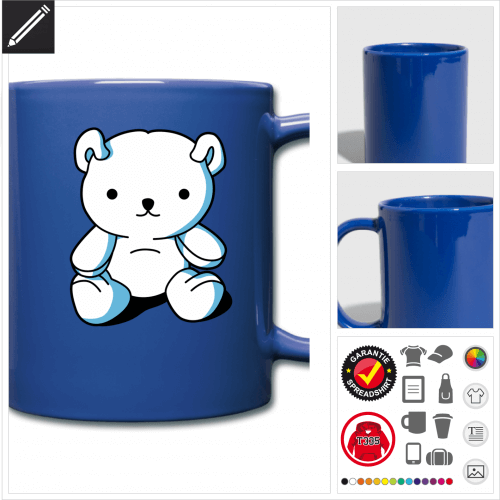 Teddybär Tasse gestalten, Druck ab 1 Stuck
