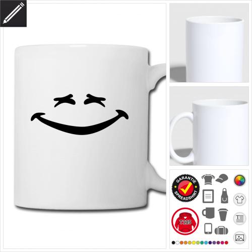 weisse Lustiges Smiley Tasse selbst gestalten. Online Druckerei