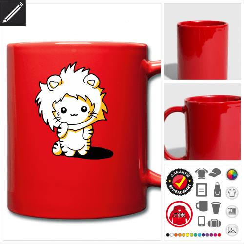 Kätzchen Löwen Kapuze Tasse online zu gestalten