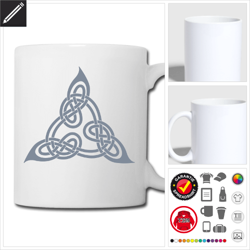 weisse Keltisch Tasse selbst gestalten. Druck ab 1 Stuck