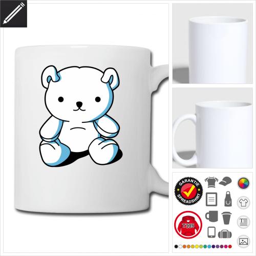 Teddybär Kawaii Tasse online Druckerei, höhe Qualität